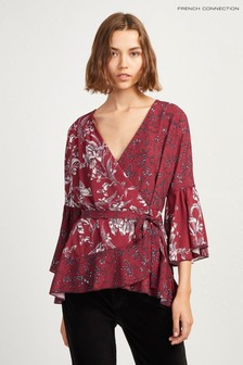 French Connection Red Printed Wrap Top