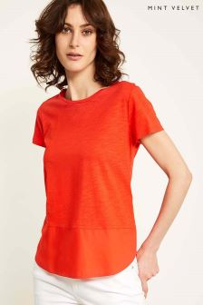 Mint Velvet Red Short Sleeve Woven Hem T-Shirt