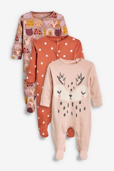 3 Pack Character And Spot Sleepsuits (0mths-2yrs)