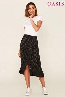 Oasis Spot Chiffon Frill Midi Skirt