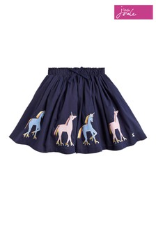 Joules Blue Ariel Luxe Unicorn Appliqué Skirt