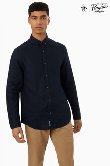 Original Penguin Blue Washed Linen Shirt