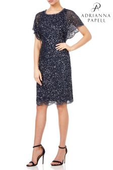 Adrianna Papell Blue Flutter Sleeve Bead Dress