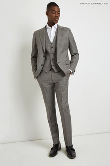 French Connection Slim Fit Light Grey Puppytooth Trouser