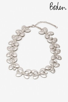 Boden Silver Tone Oval Necklace