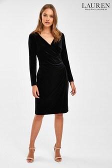 Lauren Ralph Lauren® Black Velvet Draped Torelana Dress