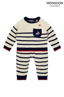 Monsoon Blue Newborn Boat And Stripe Knit Set
