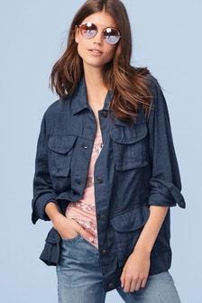 Linen Blend Utility Jacket