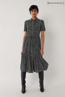 Warehouse Black Random Print Midi Shirt Dress