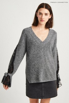 French Connection Grey Lace Mix V-Neck Jumper