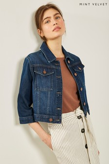Mint Velvet Indigo Cropped Denim Jacket