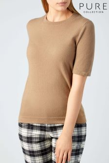 Pure Collection Tan Cashmere T-Shirt
