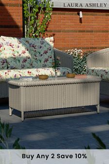 Arley Light Grey Outdoor Glass Top Coffee Table by Laura Ashley
