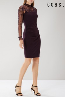 Coast Purple Ceri Tulle Knit Dress