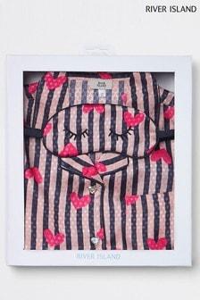 Атласный пижамный комплект в полоску и с сердечками River Island
