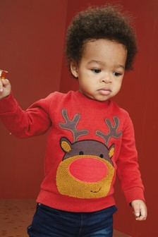 Pulover z okroglim ovratnikom in motivom Rudolfa (3 mesecev–7 let)