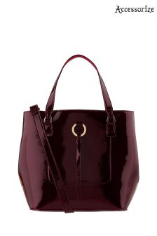 Accessorize Red Patent Double Handle Bucket Bag