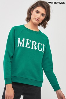 Sweat-shirt brodé à inscription « Merci » Whistles