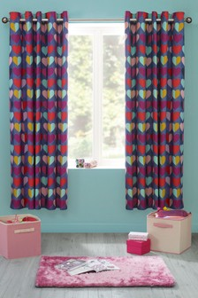 Set of 2 Bright Heart Eyelet Curtains