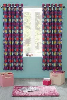 Set of 2 Bright Heart Eyelet Curtains