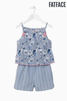 FatFace Blue Tropic Tile Woven Playsuit