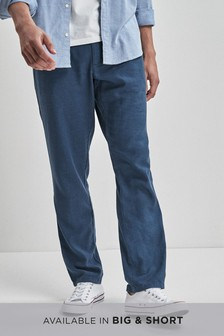 Linen Blend Jean Style Slim Fit Trousers