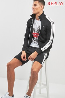 Replay® Black Side Stripe Jersey Short