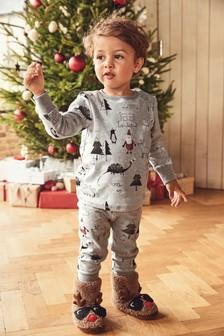 Pigiama natalizio con stampa di dinosauri (9 mesi - 10 anni)