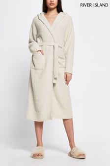 River Island Cream Hooded Fluffy Knit Robe