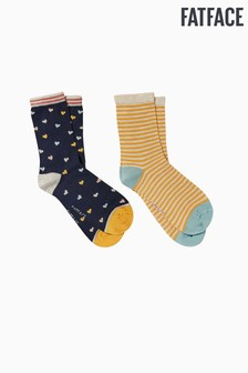 FatFace Blue Heart Bamboo Socks Two Pack