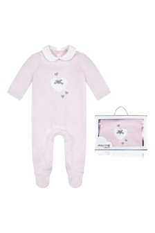 Girls Pink Cotton Heart Babygrow