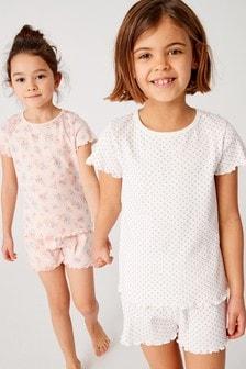 Набор из двух пижам с шортами с цветочным рисунком и в горошек (3-16 лет)