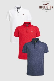 Hollister White/Red/Navy Polo Shirts Three Pack
