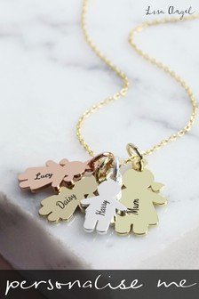Personalised Family Four Charm Necklace by Lisa Angel