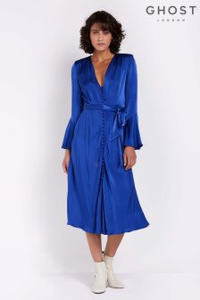 Ghost London Cobalt Blue Annabelle Satin Dress