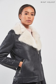 Mint Velvet Aviator Faux Fur Jacket