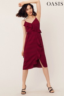 Oasis Burgundy Stripe Frill Midi Dress
