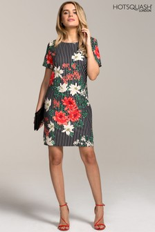 HotSquash Pin Striped Floral Rivera Print Shift Dress