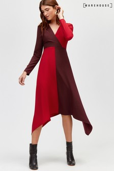 Warehouse Ruby Colourblock Midi Dress