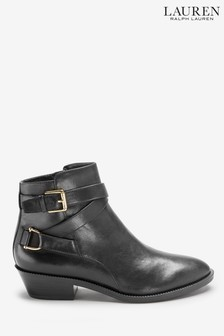 Ralph Lauren Black Leather Western Ankle Boots