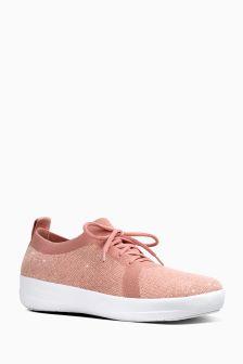 FitFlop™ Pink F-Sporty Uberknit Sneakers Metallic Weave