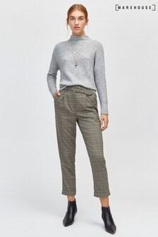 Pantalon carotte à carreaux Warehouse gris avec anneau