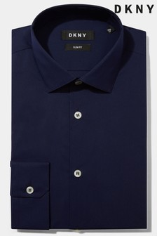 DKNY Slim Fit Navy Single Cuff Stretch Shirt