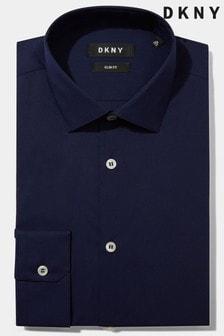 Cămașă DKNY slim fit bleumarin cu manșetă simplă din material stretch