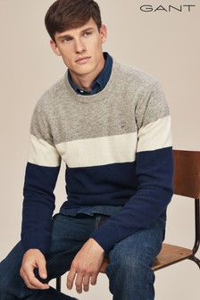 GANT Navy Colourblock Stripe Crew Knit Jumper