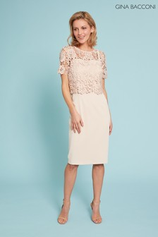 Gina Bacconi Pink Coralise Dress With Lace Overtop