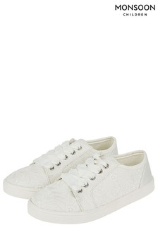 Monsoon Ivory Katie Lace-Up Bridal Trainer