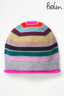 Boden Blue Multi Stripe Cashmere Hat