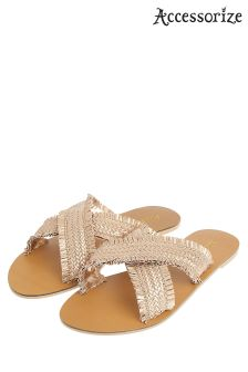Accessorize Metallic Freya Frayed Cross Strap Sandal