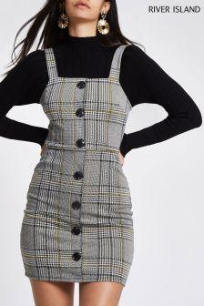 River Island Grey Check Jersey Button Bodycon Dress